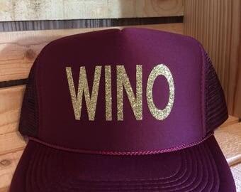 WINO trucker hat/Wine/bachelorette /wine tasting/wino/bling