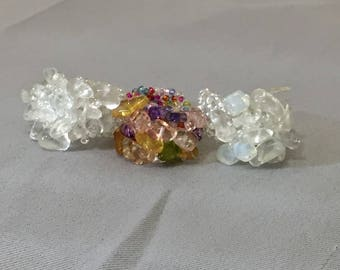 Crystal Beaded Stretch Ring , Seed Bead Woven Artisan Ring