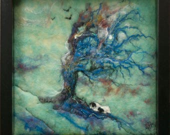 Wind swept tree with sheltering sheep felt art wall decor