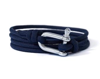 Shackle Bracelet, Navy Blue & Silver, Sailing Rope Bracelet, Mens Bracelet, Nautical Jewellery.