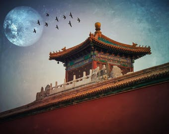 Forbidden City China Digitally Altered Edited Surreal Fantasy Photograph Print OOAK