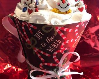 Cherryful snowman cupcakes (fake)