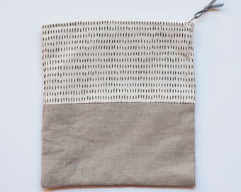 Gray and Line Print Pouch, Platinum Gray with Black and Cream Line Print Bag, Gray and Cream Bag with Black Line Print, Gray Linen Bag