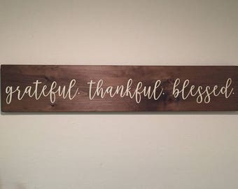 LARGE - grateful thankful blessed, grateful thankful blessed sign, rustic wood signs, farmhouse decor, living room signs, dining room signs