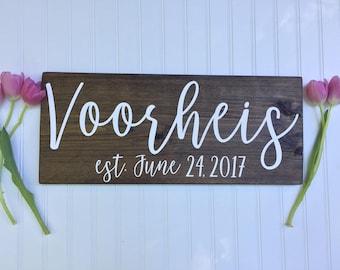 last name - family name - wedding gift - engagement gift - established sign -