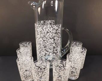 20% OFF SALE - Vintage Blendo White Flower Pitcher Set With 8 Glasses, Flowered Glass Pitcher, Cottage Chic