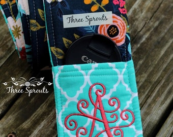 Camera Strap, Camera Strap Cover, Monogrammed Camera Strap, Padded Camera Strap, Rifle Paper Co Fabric -Birch Floral