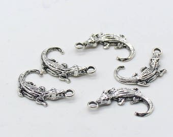 6 Pcs Gecko Charms Antique Silver Tone 16x26mm - YD1980