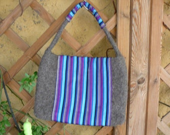 hand knitted and felted wool bag