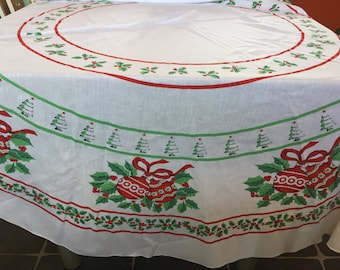 "68"" Large Round White Vintage Christmas Tablecloth"