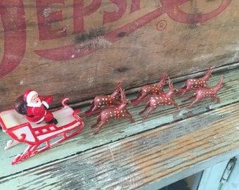 SHIPS FREE!! Tiny Vintage Plastic Santa Sleigh and Reindeer