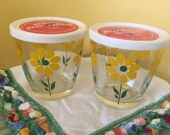 Pair of Breakstone Yellow Flower Sour Cream Glasses