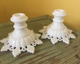 Pair of Westmoreland Milk Glass Ring & Petal Snowflake Candleholders