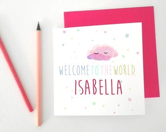Personalised Baby Card, Baby Girl Card, Welcome Baby Card, Unique Baby Card, Cloud Baby Card, Welcome Little One, Girl Name Card,