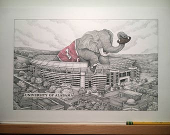 "Alabama football stadium 11""x17"" pen and ink print with hand-colored elephant"