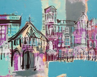 London Soho Square Original Painting 12x16 REDUCED PRICE