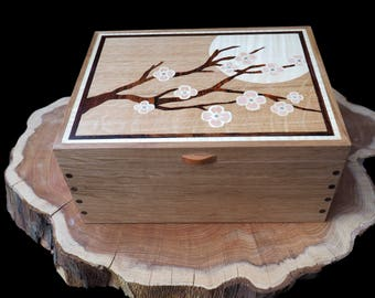 Wooden Jewellery Box Cherry Blossom in Moonlight