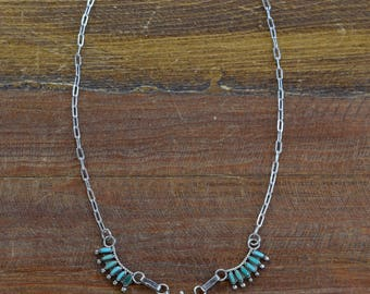 Sterling Silver and Needlepoint Turquoise Zuni Necklace