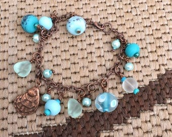 Chunky turquoise and copper bracelet