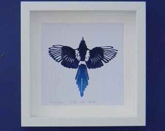 Magpie - an original lino print