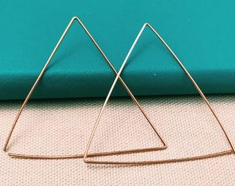 Rose gold earrings Triangle earrings Geometric threader earrings Birthday gift Statement earrings Dainty earrings Simple geometric earrings