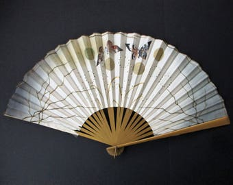 Antique Chinese Embroidered Silk Hand Fan Butterflies Sequin Dandelions Hand Painted Asian Ladies Fan Gilt Gilded Wood