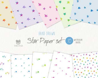 Watercolor colorful stars, seamless pattern, digital paper set, hand drawn,wrapping paper,printable, hand drawn, Instant download