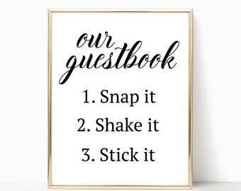 Polaroid Guest Book Printable, Wedding Reception Sign, Modern Calligraphy Photo Guestbook Printable, Reception Framed Table Decor