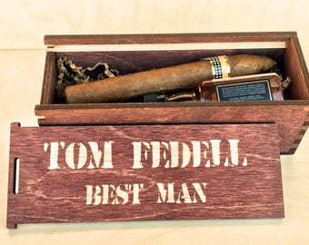 Personalized Cigar Box - Cigar Gift Box - Groomsmen Gift Box - Cigar Box - Groomsman Gift Box - Jack  - Best Man Gift - Suncoastlaser