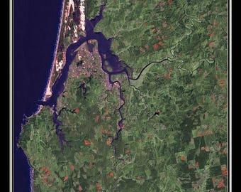 Coos Bay Oregon Satellite Poster Map