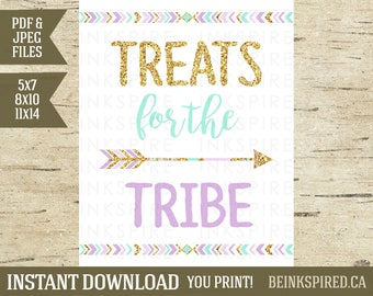 Treats for the Tribe Sign, Wild One Birthday, Wild One Party, Tribal Birthday, Tribal Party Sign, Tribal Decor, OLIVIA, INSTANT DOWNLOAD