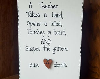 Personalised Free standing Sign  Teacher's gift Present End of Term Gift School Keepsake Plaque
