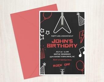 Rockstar Birthday Invitation, Rockstar Invitation, Custom Birthday Invitation, Printable Birthday Invitation, Guitar Invitation