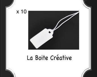 10 tags price with wire and paper white 23 x 13 mm