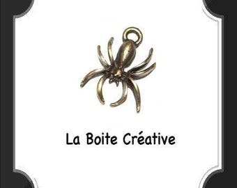 BRONZE charm METAL spider insect 18 x 14 mm