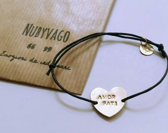 //incisione Personalized//bracciale engraved brass Heart Bracelet