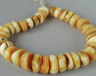 Antique amber beads, Natural amber, White amber beads, Yellow Amber, Amber discs. FREE SHIPPING!!!