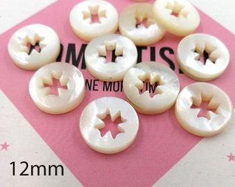 10pcs 12mm White Mother of Pearl Clover Beads Carved White Shell Clover Beads