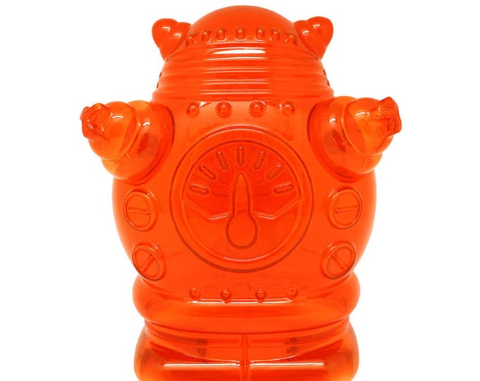 Robot Coin Bank made of molded orange clear plastic, perfect gift for kids of any sci fi lover.
