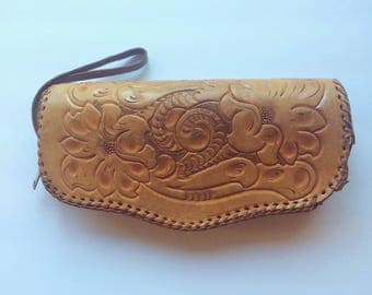 70s Tooled Leather Wristlet/Purse