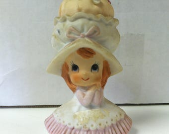 "Vintage NAPCO 1960's Handpainted Ceramic Lady In Hat Bonnet Figure Pincushion 3.25"" Figurine  9677"