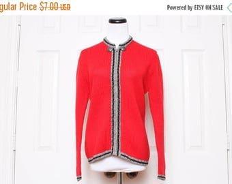 25% OFF VTG 50s Red Gray Black Zipper Sweater M
