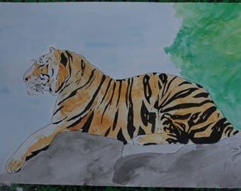 """drawing painting watercolor and ink """"Tiger"""""""