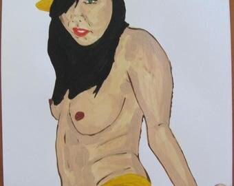 "dessin peinture acrylique  nu féminin ""Yo""  signé G.Vanspey A4"
