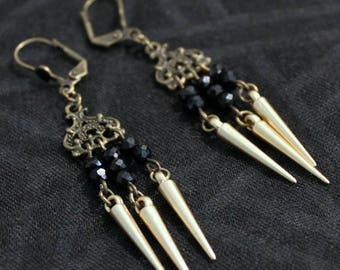 Earring chandelier connector bronze beads with black and gold spikes