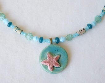 Starfish Necklace, Star Fish Pendant, Teen Girls Necklace, Ceramic Pendant, Beaded Necklace, Blue Turquoise, Handmade, Gift Idea