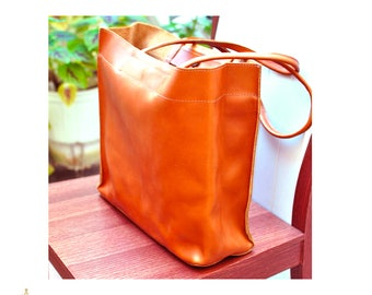 LEATHER TOTE BAG  from Full Grain Leather Handmade