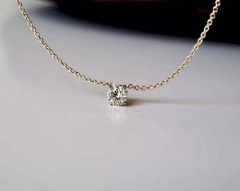 Solitaire Diamond Necklace. 0.25 ct. Round Diamond Necklace. Delicate Necklace. Elegant Gold Solitaire Necklace. 14K/18K Yellow Gold
