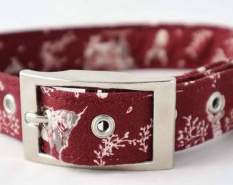 Handmade wine stag dog collar with silver metal buckle