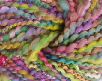 RHAPSODY skein of yarn spun to spinning wheel.
